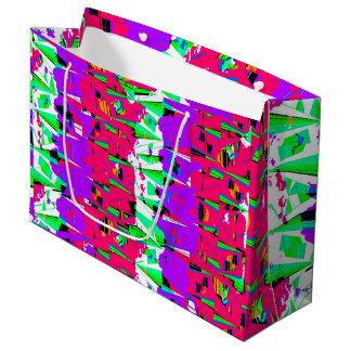 Colorful Glitch Pattern Design Large Gift Bag