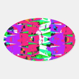 Colorful Glitch Pattern Design Oval Sticker