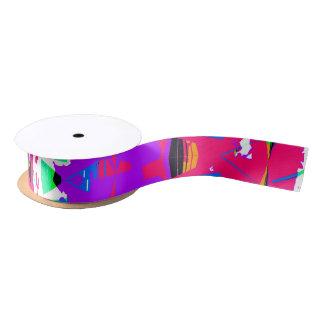 Colorful Glitch Pattern Design Satin Ribbon