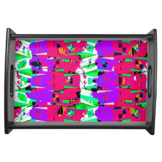 Colorful Glitch Pattern Design Serving Tray