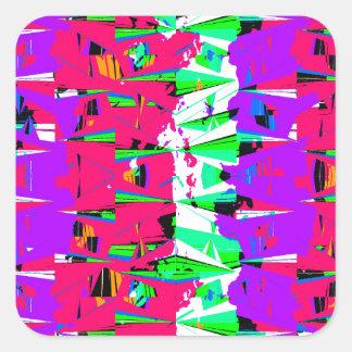 Colorful Glitch Pattern Design Square Sticker
