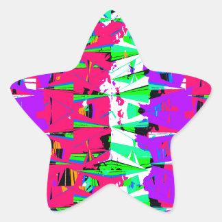 Colorful Glitch Pattern Design Star Sticker