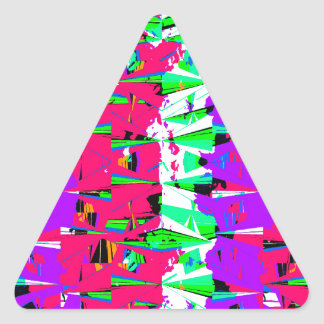 Colorful Glitch Pattern Design Triangle Sticker