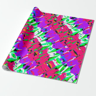 Colorful Glitch Pattern Design Wrapping Paper