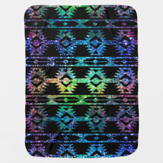 Colorful Glitter And Black Tribal Geometric Patter Baby Blanket
