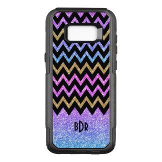 Colorful Glitter & Black Chevron OtterBox Commuter Samsung Galaxy S8+ Case
