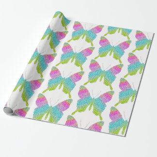 Colorful glitter butterflies wrapping paper