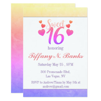 Colorful Glitter Colors Sweet Sixteen Invitations