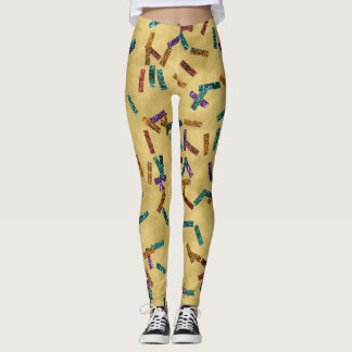 Colorful Glitter Confetti Gold Leggings