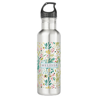 Colorful Glitter Flowers Pattern With Monogram 710 Ml Water Bottle