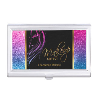 Colorful Glitter Girl with Black and Gold Business Card Holder