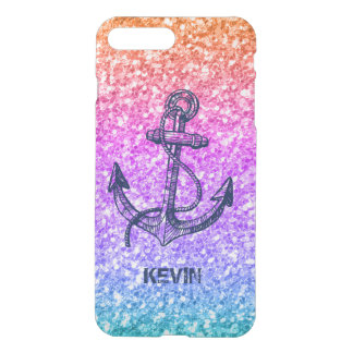 Colorful Glitter Gradient Nautical Boat Anchor iPhone 7 Plus Case