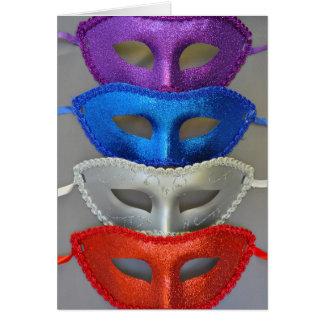 Colorful glitter masks card