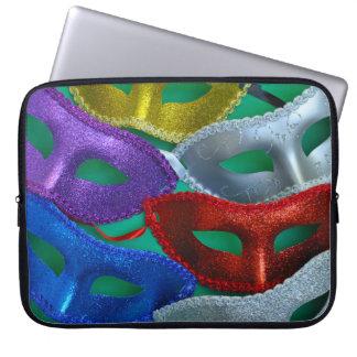 Colorful glitter masks laptop sleeve