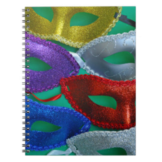Colorful glitter masks notebooks
