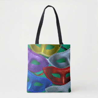 Colorful glitter masks tote bag