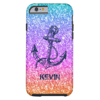 Colorful Glitter & Midnight-Blue Nautical Anchor Tough iPhone 6 Case