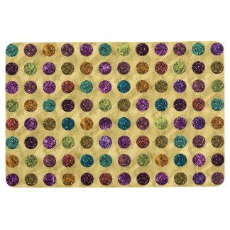 Colorful Glitter Polka Dots Gold Floor Mat