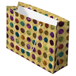 Colorful Glitter Polka Dots Gold Large Gift Bag