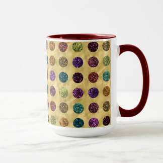 Colorful Glitter Polka Dots Gold Mug