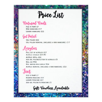 Colorful Glitter Price List Nails Services Flyer