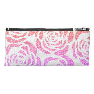 Colorful Glitter Roses Floral White Pencil Case