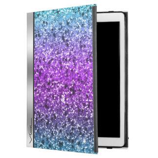 """Colorful Glitter Silver Accent Monogram iPad Pro 12.9"""" Case"""