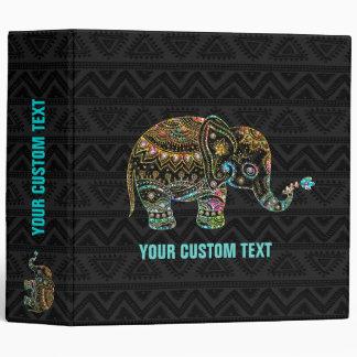 Colorful Glitter Tribal Floral Elephant Vinyl Binders