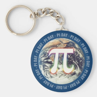 Colorful Glow Pi Day on Earth | Math Basic Round Button Keychain