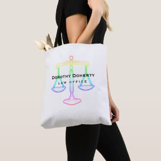 Colorful Glow Scales of Justice | Lawyer Tote Bag