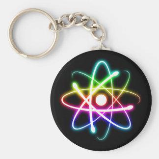 Colorful Glowing Atom | Geek Basic Round Button Keychain