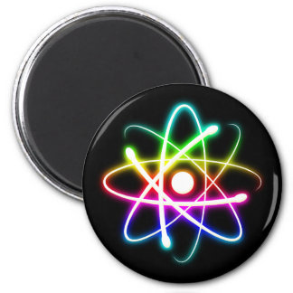 Colorful Glowing Atomics Science 2 Inch Round Magnet