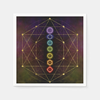 Colorful Glowing  Chakras Disposable Napkin