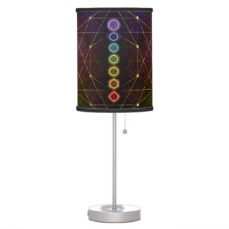 Colorful Glowing  Chakras Table Lamp