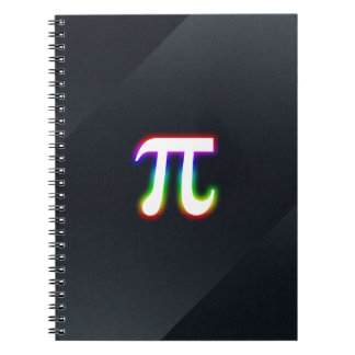 Colorful Glowing Pi Spiral Notebooks
