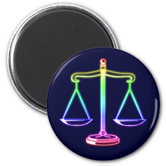 Colorful Glowing Scales of Justice Magnet
