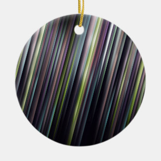 Colorful Glowing Stripes Round Ceramic Ornament