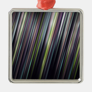 Colorful Glowing Stripes Silver-Colored Square Ornament