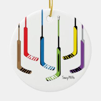 Colorful Goalie Hockey Sticks Ceramic Ornament