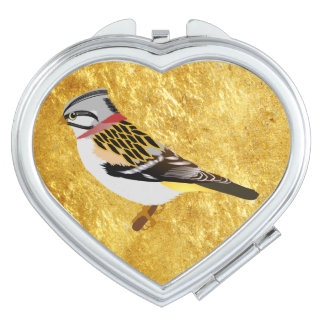 Colorful gold foil design yellow and brown sparrow makeup mirror