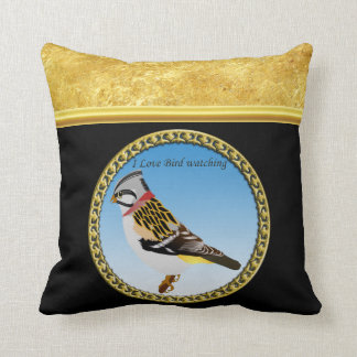 Colorful gold foil design yellow and brown sparrow throw pillow