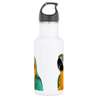colorful gold teal macaw parrot bird portrait 532 ml water bottle