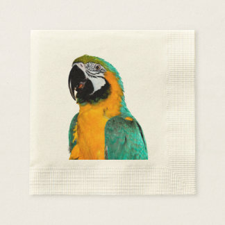 colorful gold teal macaw parrot bird portrait paper napkin