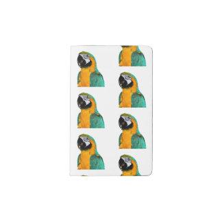 colorful gold teal macaw parrot bird portrait pocket moleskine notebook
