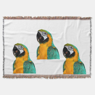colorful gold teal macaw parrot bird portrait throw blanket