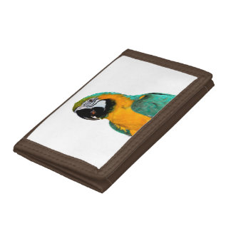 colorful gold teal macaw parrot bird portrait trifold wallet