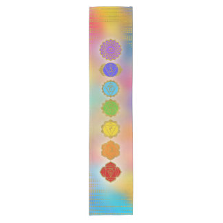 Colorful Golden Chakras composition Short Table Runner