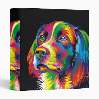 Colorful golden retriever 3 ring binder