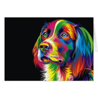 Colorful golden retriever card