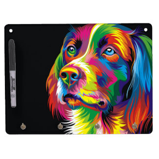 Colorful golden retriever dry erase white board